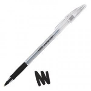 Bic Cristal Grip Ball Pen Clear Barrel 1.0mm Tip 0.4mm Line Black Ref 802800 [Pack 20]