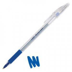 Bic Cristal Grip Ball Pen Clear Barrel 1.0mm Tip 0.4mm Line Blue Ref 802801 [Pack 20]