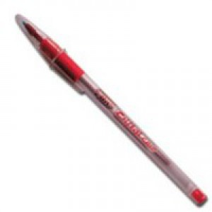 Bic Cristal Grip Ball Pen Clear Barrel 1.0mm Tip 0.4mm Line Red Ref 802803 [Pack 20]