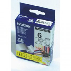 Brother P-touch TZE Label Tape 6mmx8m Black on Yellow Ref TZE611