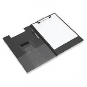 Clipboard Fold Over with Pocket and Pen Holder Foolscap Black