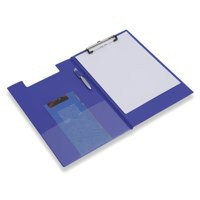Image for Rapesco Clipboard Fold-over with Pocket and Pen Holder Foolscap Blue Ref VFDCB0L3