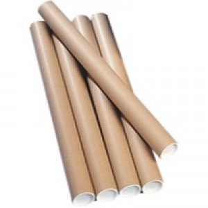 Postal Tube Cardboard with Plastic End Caps L450xDia.75mm [Pack 12]