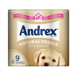 Andrex Toilet Rolls 2-Ply 240 Sheets Natural Pebble Ref VKC4974125 [Pack 9]