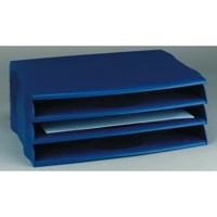 Avery DTR Letter Tray Wide Entry Stackable Blue Ref DR800BLU [Pack 3]