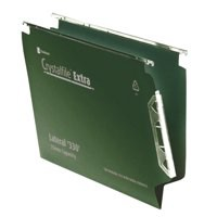 Rexel Crystalfile Extra Lateral File Polypropylene V-base 15mm W330mm Green Ref 300121 [Pack 25]