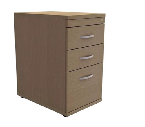 Trexus Filing Pedestal Desk High Soft Close 3 Drawers W400xD600xH725mm Oak