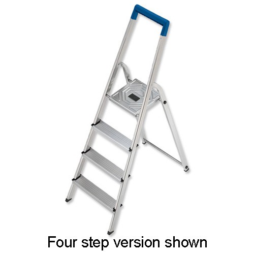 Folding Aluminium Ladder 3 Non Slip Ribbed Steps 3.3kg