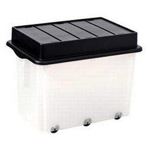 Strata Storemaster Mega Crate and Folding Lid on 6 Wheels 105 Litres 700x480x460mm Clear Ref HW333CLR