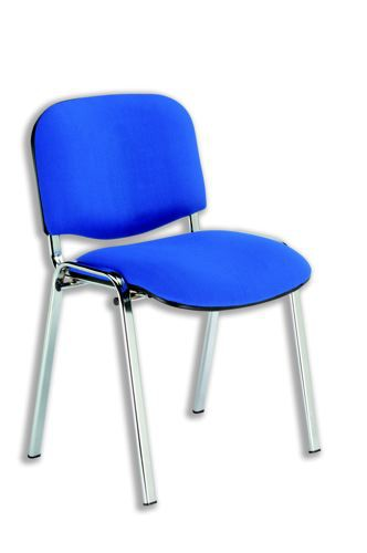 Trexus Stacking Chair Chrome Frame with Upholstered Seat W480xD420xH500mm Blue