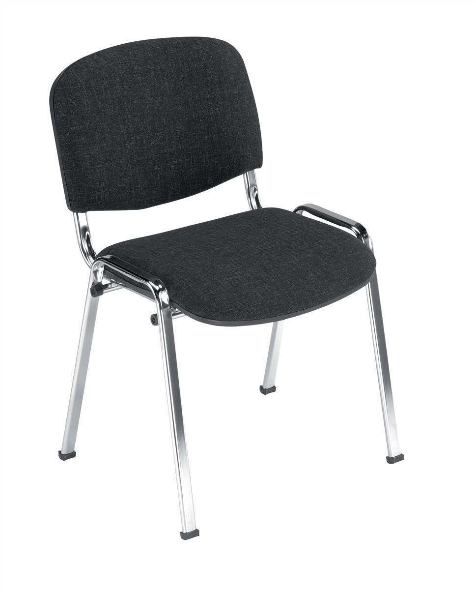 Trexus Stacking Chair Chrome Frame with Upholstered Seat W480xD420xH500mm Charcoal