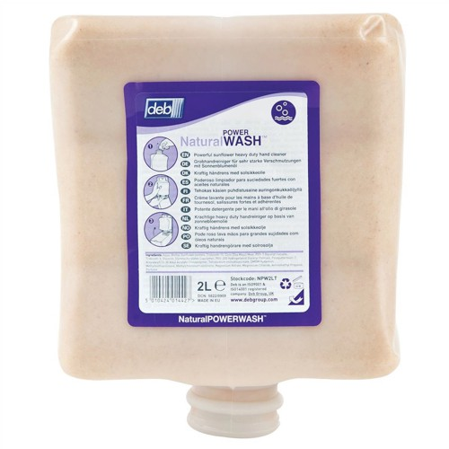 DEB Natural Power Wash Hand Soap Refill Cartridge 2 Litre Code NPW2LTR