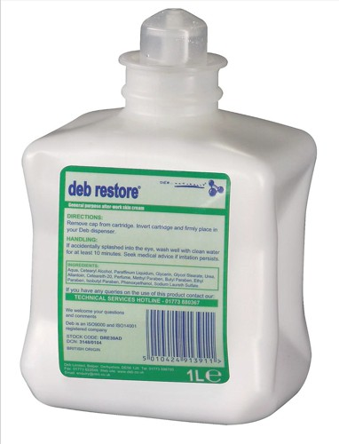 DEB Restore After Work Hand Cream Refill Cartridge 1 Litre Ref DRE39AD