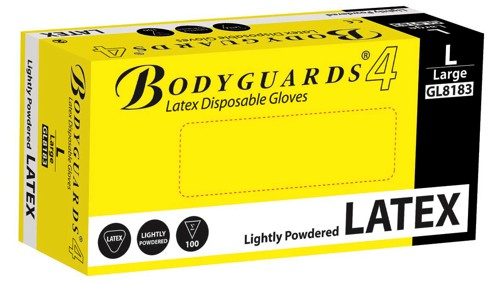 Polyco Bodyguards4 Powdered Disposable Latex Gloves Medium GL8182 Pack 100