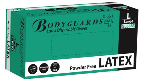 Polyco Bodyguards4 Powder Free Disposable Latex Gloves Medium Code GL8882 Pack 100