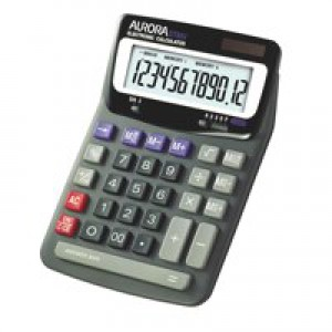 Aurora DT-85V Desktop Calculator Battery/Solar-power 12 Digit 2x3 Key Memory