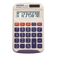 Aurora Calculator Handheld Battery/Solar-power 8 Digit 3 Key Memory 50g 70x115x15mm Ref HC133