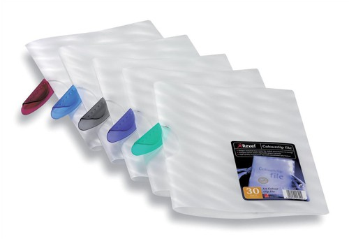 Rexel Colour Clip File Frosted for 30 Sheets of 80gsm with Translucent Clip Assorted Ref 17450 [Pack 25]