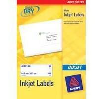 Avery Quick DRY Addressing Labels Inkjet 16 per Sheet 99.1x33.9mm White Ref J8162-25 [400 Labels]