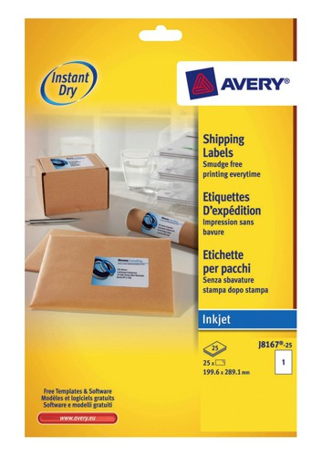 Avery Quick DRY Addressing Labels Inkjet 1 per Sheet 199.6x289.1mm White Ref J8167-25 [25 Labels]