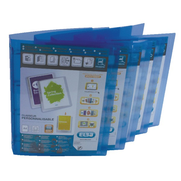 Elba Polyvision Presentation Ring Binder Polypropylene 4 Ring 25mm A4 Blue Ref 100081048 [Pack 12]