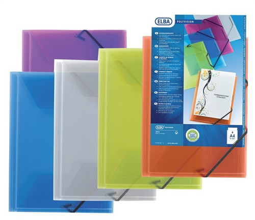 Elba Polyvision Document Wallet 3-Flap Polypropylene Elasticated Clear Ref 100201153 [Pack 12]