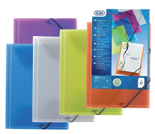 Elba Polyvision Document Wallet 3-Flap Polypropylene Elasticated Assorted Ref 100201150 [Pack 12]