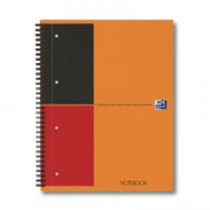 Oxford International Classic Notebook 160pp Ruled Perforated A4+ Orange/Grey Ref 100104036 [Pack 5]
