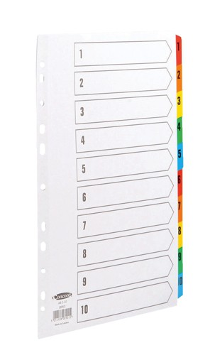 Concord Commercial Index Mylar-reinforced Europunched 1-10 Coloured Tabs A4 White Ref 08901