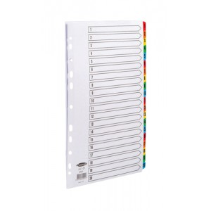 Concord Commercial Index Mylar-reinforced Europunched 1-20 Coloured Tabs A4 White Ref 69201