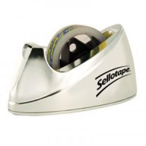 Sellotape Large Chrome Dispenser Non-slip for 25mmx33m and 66m Rolls Code 504104