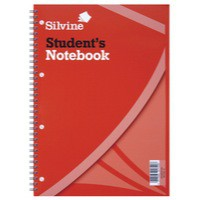 Image for Silvine Student Spiral Notebook Wirebound Soft Cover Ruled Punched 120 Pages 210x297mm Ref 141 [Pack 12]