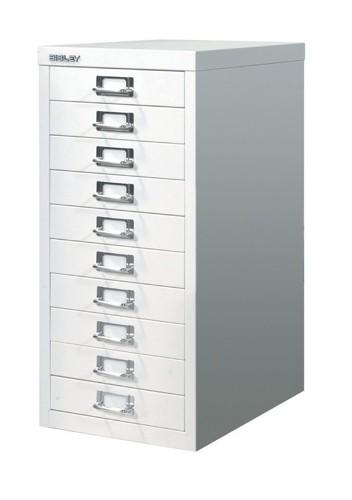 Bisley Steel Storage Cabinet 10 Drawer 279x408x590mm Chalk White