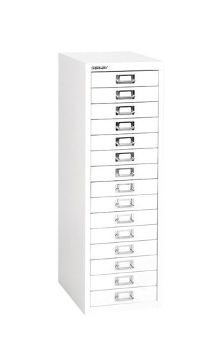 Bisley Steel Storage Cabinet 15 Drawer 279x408x860mm Chalk White
