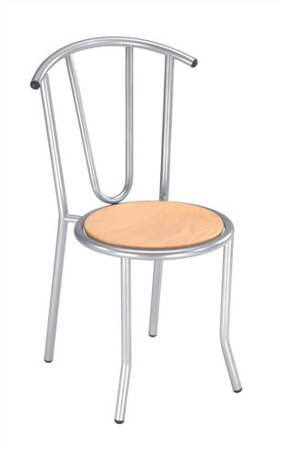 Trexus Cafe Chair Stackable Silver-effect Frame Backrest H390mm W350xD350xH460mm Beech