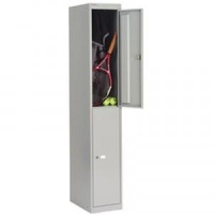 Bisley Locker Steel 2-Door W305xD305xH1802mm Goose Grey Ref CLK122-73