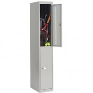 Bisley Locker Deep Steel 2-Door W305xD457xH1802mm Goose Grey Ref CLK182-73