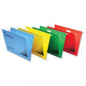 Twinlock Crystalfile Flexifile Suspension File Manilla V-base Foolscap Yellow Pack 50 Code 3000043