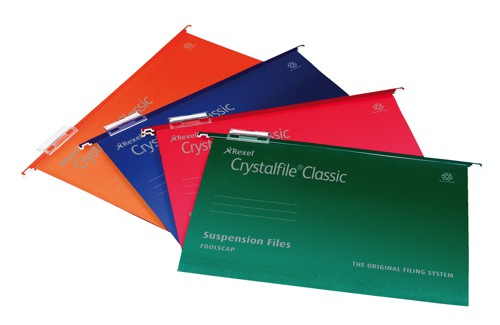 Rexel Crystalfile Classic Suspension File Manilla V-base 15mm Foolscap Orange Ref 3000050 [Pack 50]