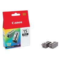 Canon BCI-15BK Inkjet Cartridge Page Life 185pp Black Ref 8190A002 [Pack 2]
