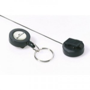 Durable Badge Reel Plastic with Key Ring Fastener and Retractable Cord Black Ref 8222/58 [Pack 10]
