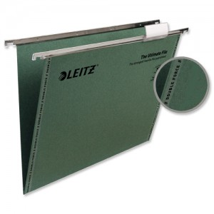 Leitz Ultimate Suspension File Recycled with Tabs Inserts V-Base Foolscap Green Ref 17440055 [Pack 50]