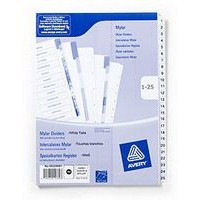 Avery Index Multipunched 1-25 A4 White Ref 05225061