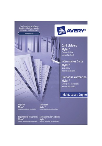 Avery Index Unpunched 1-15 White A4 Ref 05241061 [Pack 5]