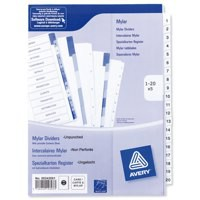 Avery Index Unpunched 1-20 White A4 Ref 05242061 [Pack 5]