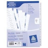 Avery Index Unpunched A-Z 26-Part White A4 Ref 05244061 [Pack 5]