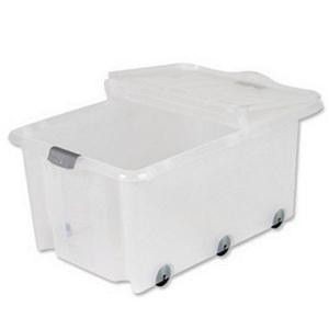 Strata Storemaster Supa Crate Folding Lid 6 Wheels 75 Litres 705x470x330mm Clear Ref HW359CLR [Pack 5]