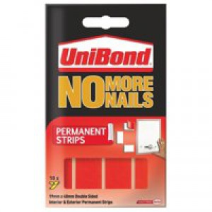 Unibond No More Nails Strip Ultra-strong Capacity 2.75kg Permanent Translucent Ref 781740 [Pack 12]