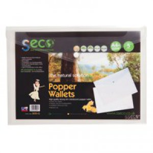 SSeco Wallet Popper-seal Heavy-duty Polypropylene Oxo-biodegradable A4 Clear Ref 30085-CL [Pack 5]