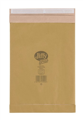 Jiffy Green Padded Bags with Kraft Outer and Recycled Paper Cushioning No.5 245x381mm Ref 01901 [Pack 25]